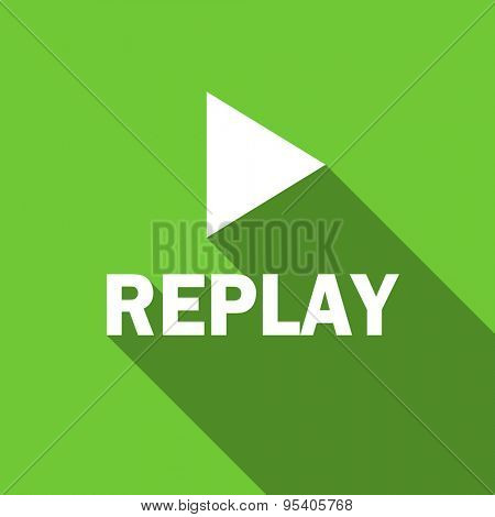 replay flat icon  original modern design green flat icon for web and mobile app with long shadow
