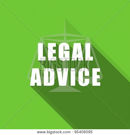 legal advice flat icon law sign original modern design green flat icon for web and mobile app with long shadow