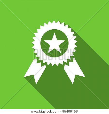 award flat icon prize sign original modern design green flat icon for web and mobile app with long shadow