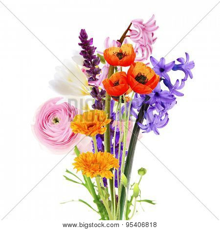 Bouquet of beautiful flowers isolated on white
