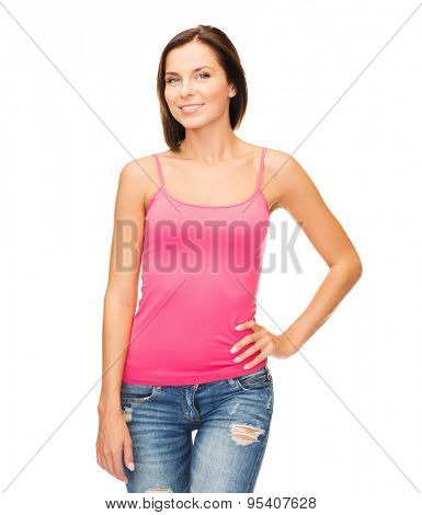tank top design concept - smiling woman in blank pink tank top