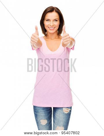 happy people concept - woman in blank pink t-shirt showing thumbs up