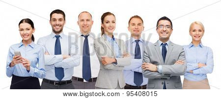 business, people, corporate, teamwork and office concept - group of happy businesspeople with crossed arms