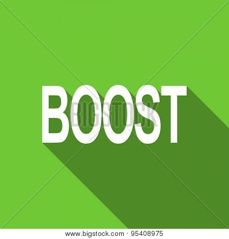 boost flat icon  original modern design green flat icon for web and mobile app with long shadow