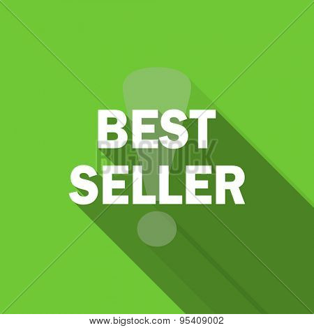 best seller flat icon  original modern design green flat icon for web and mobile app with long shadow