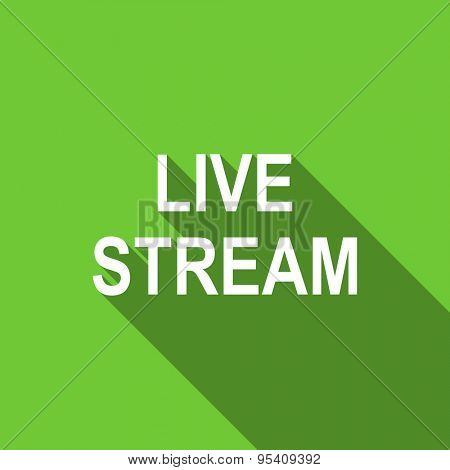 live stream flat icon  original modern design green flat icon for web and mobile app with long shadow
