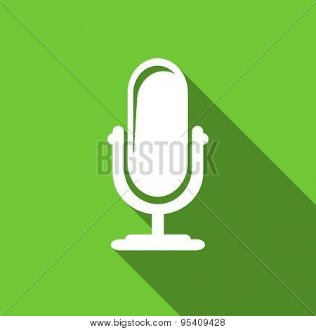 microphone flat icon podcast sign original modern design green flat icon for web and mobile app with long shadow