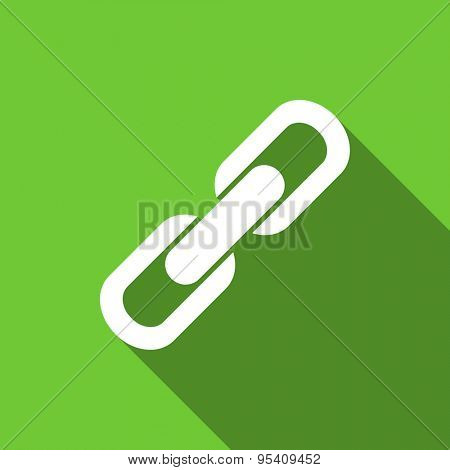 link flat icon chain sign original modern design green flat icon for web and mobile app with long shadow