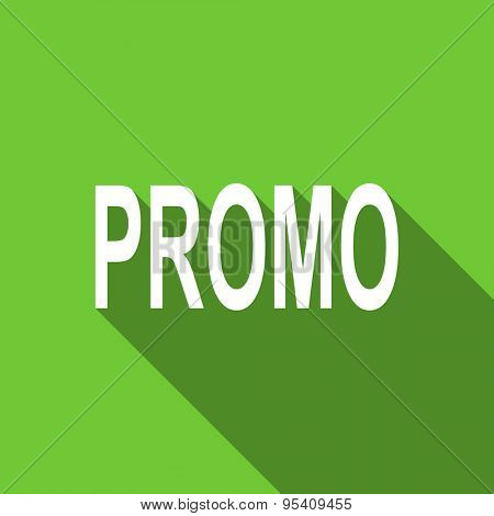 promo flat icon  original modern design green flat icon for web and mobile app with long shadow