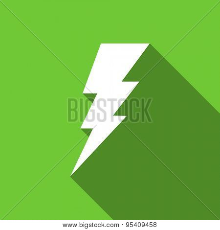 bolt flat icon flash sign original modern design green flat icon for web and mobile app with long shadow
