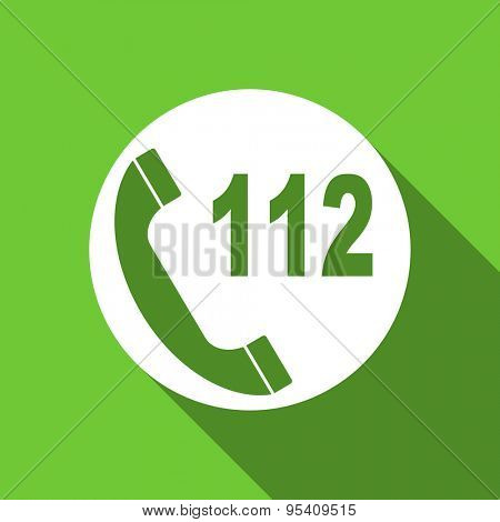 emergency call flat icon 112 call sign original modern design flat icon for web and mobile app with long shadow