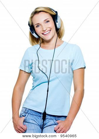 Smiling Young Woman With Headphones