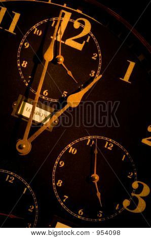 Vintage Clock With Mulitple Faces
