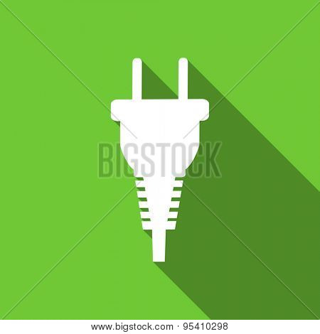 plug flat icon electric plug sign original modern design flat icon for web and mobile app with long shadow
