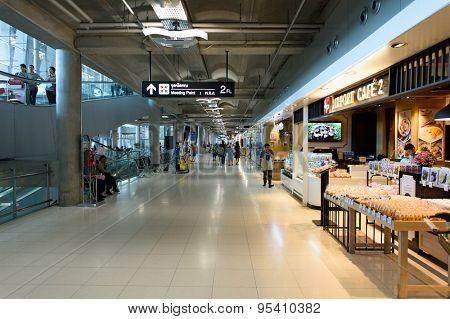 BANGKOK, THAILAND - JUNE 19, 2015: Suvarnabhumi Airport interior. Suvarnabhumi Airport is one of two international airports serving Bangkok