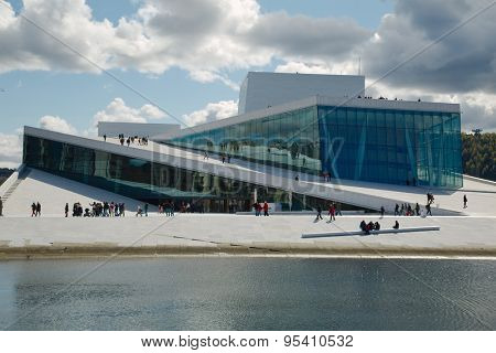 OSLO, NORWAY - MAY 3: View of the National Oslo Opera House building on May 3, 2015, in Oslo, Norway