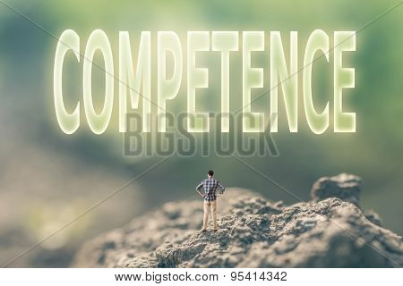 Concept of ability with a person stand in the outdoor and looking up the text over the sky in nature background.