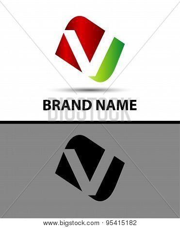 Vector illustration of abstract icons based on the letter v