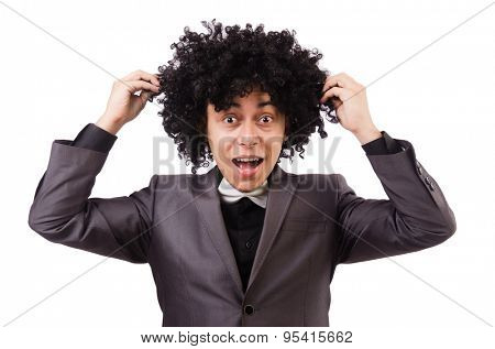 Young man with curly african wig isolated on white
