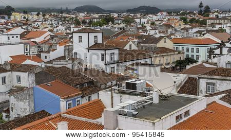 Top view of roofs in the center of Ponta Delgada, Azores, Portugal.