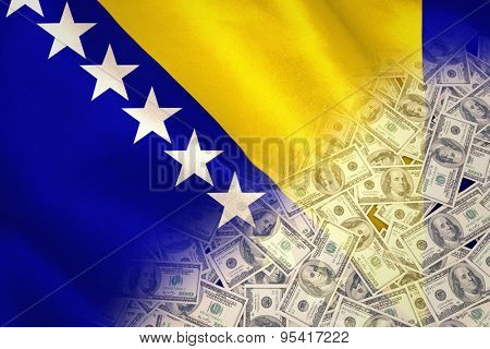 Pile of dollars against digitally generated bosnian flag