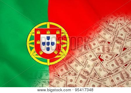 Pile of dollars against digitally generated portugese national flag
