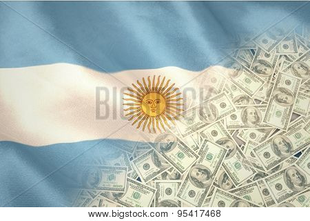 Pile of dollars against argentinian flag