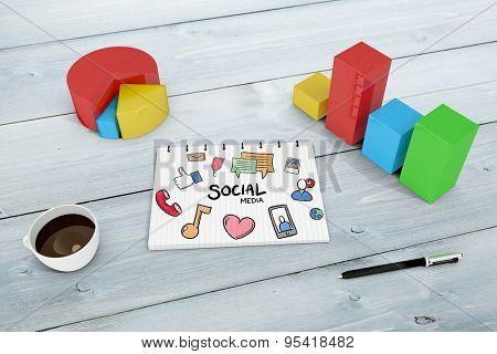 social media doodle against bleached wooden planks background