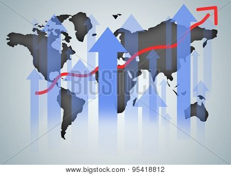 World map graphic chart on blue background