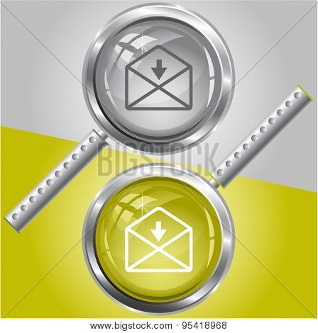 mail down arrow. Vector magnifying glass.
