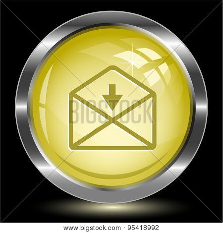 mail down arrow. Internet button. Vector illustration.