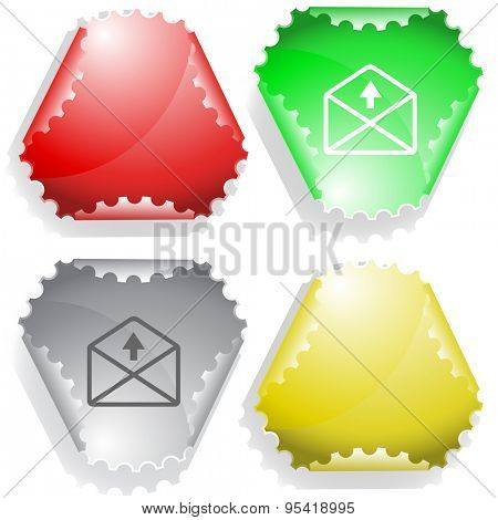 mail up arrow. Vector sticker.