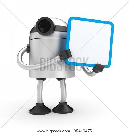 A robot holding a sign - add you text or graphic