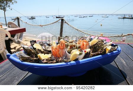 Closeup of seafood platter set on restaurant table