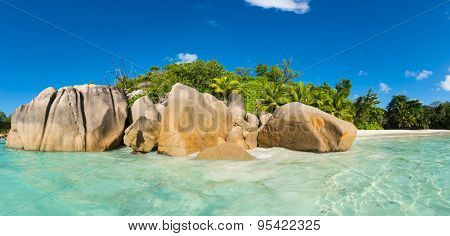 Beautiful and a famous beach Anse Lazio seen from the sea, Praslin island, Seychelles. Panoramic photo