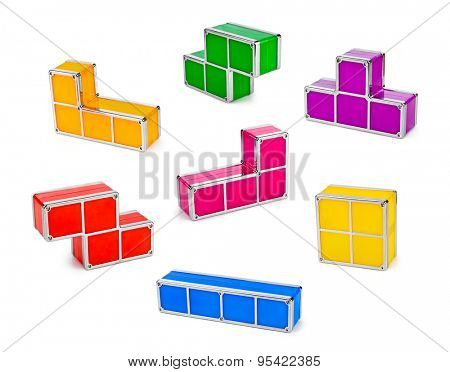 Set of tetris toy blocks isolated on white background