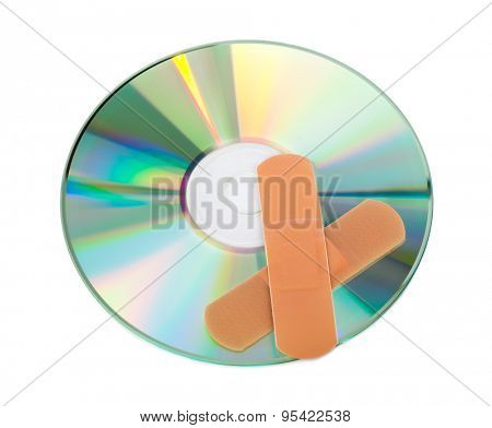 CD with software patch isolated on white background
