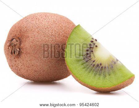 Sliced kiwi fruit segment  isolated on white background cutout
