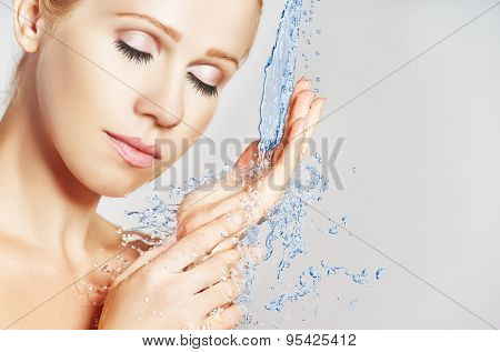Beauty Woman Skin Care, Washing With Splashes Of Water