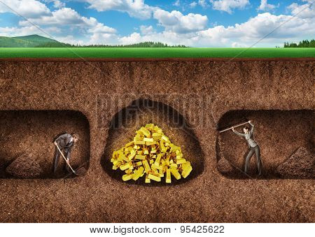 Business people dig a tunnel to treasure