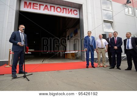 ST. PETERSBURG, RUSSIA - JUNE 30, 2015: Opening of the Megapolis plant owned by Amira Group. It's Russia's largest plant producing the lighting poles