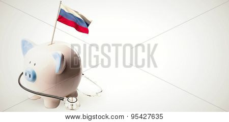 Digitally generated russia national flag against white background with vignette
