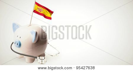 Digitally generated spain national flag against white background with vignette