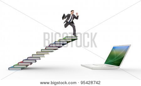 Cheerful businessman in a hurry against steps made from books