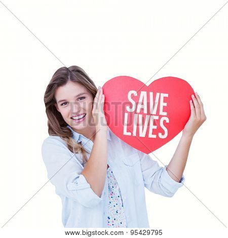 Woman holding heart card against save lives