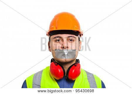 Worker with mouth covered by an adhesive tape