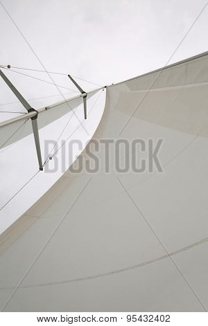 Sailing boat sail and mast detail