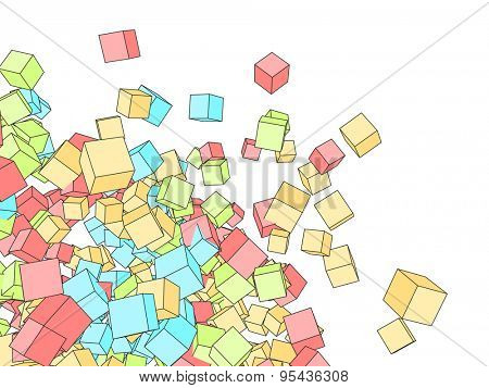 3D color cubes sketch style srawing background with white copy space.