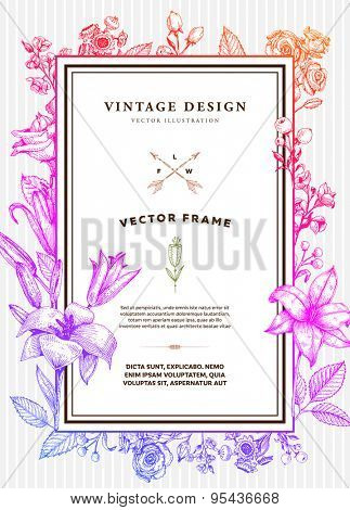 Vintage Floral Card. Frame with Engraving Flowers. Botanical Illustration with Roses, Lilies and other Flowers. Retro Graphic Style.