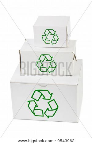 Stack Of Boxes With Recycling Sign